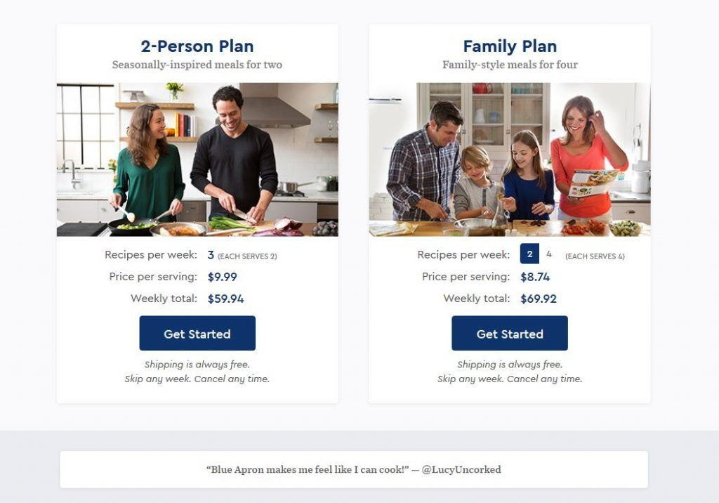 Blue Apron family plan review pricing