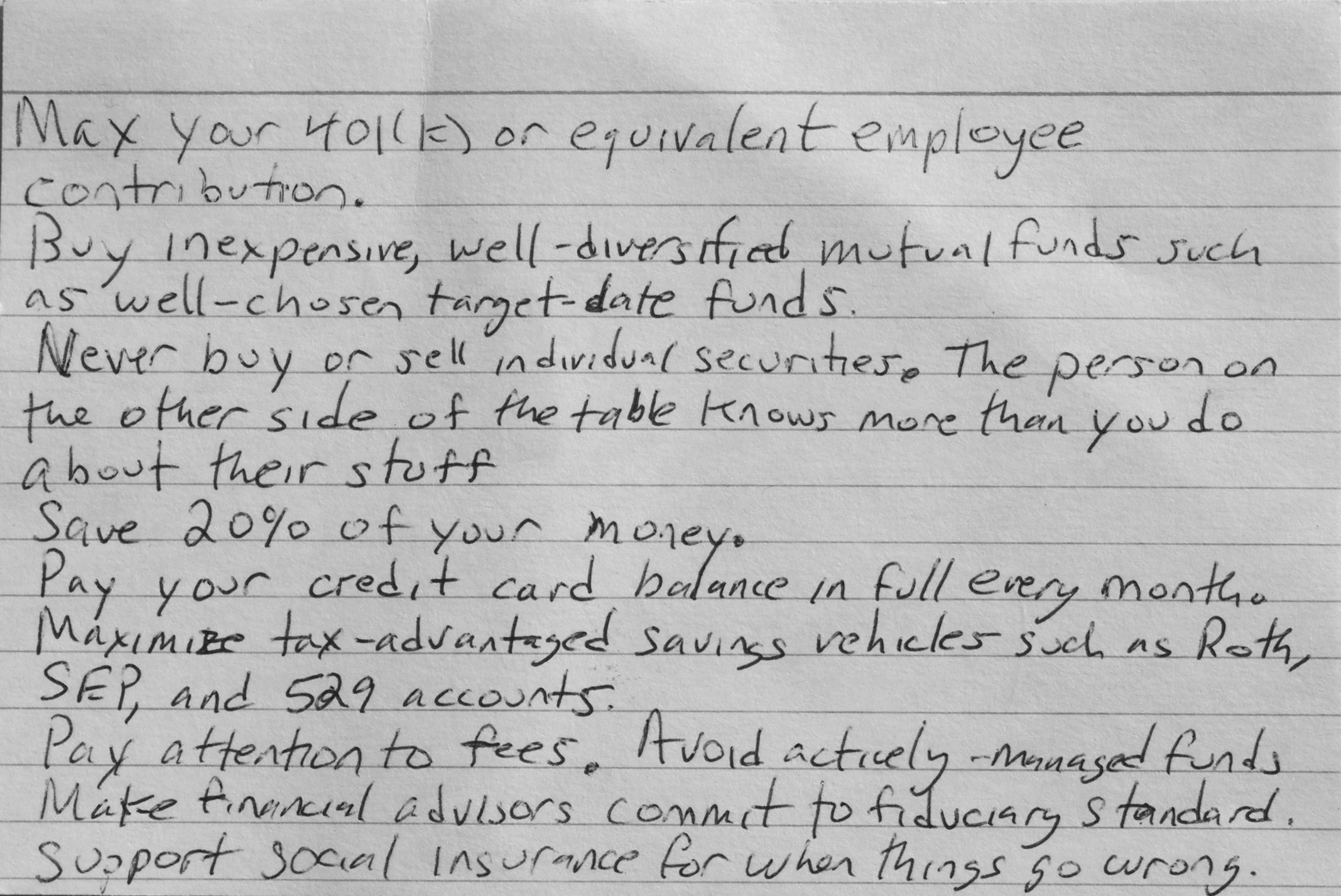 nine finance rules index card